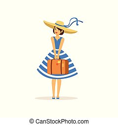 Beautiful young woman in a blue dress and straw hat standing with suitcase, girl dressed in retro style vector Illustration
