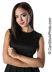 Beautiful young woman in black dress