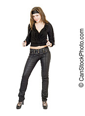 Beautiful young woman in black leather pants