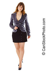 Beautiful young woman in business suit