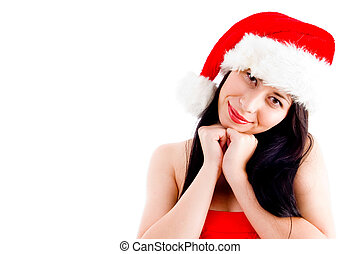 beautiful young woman in christmas hat smiling