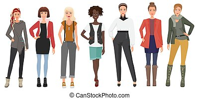 Beautiful young woman in fashion clothes set. Cartoon girls lady characters. Vector illustration.