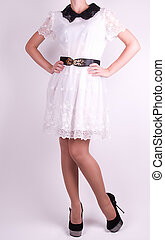 young woman in fashion dress