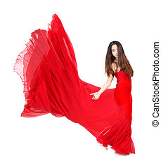 Beautiful Young Woman in Flowing Red Dress on White Background