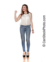 young woman in jeans and a shirt
