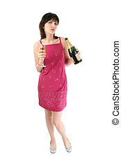 Beautiful Young Woman in Party Dress with Champagne