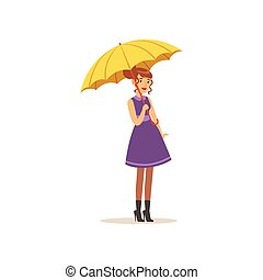Beautiful young woman in purple dress standing with yellow...