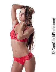 Beautiful young woman in red underwear