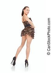 Beautiful young woman in short dress