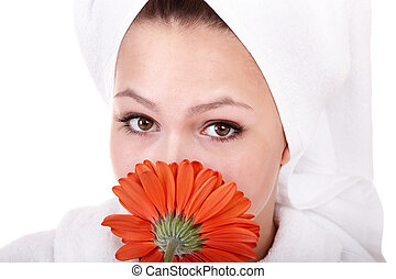 Beautiful young woman in spa.