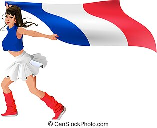 Beautiful young woman in sport uniform holds flag of france