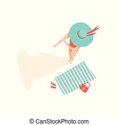 Beautiful young woman in straw hat applying suntan cream on her arm, top view vector Illustration on a white background