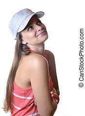 beautiful young woman in studio