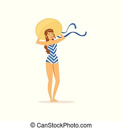 Beautiful young woman in swimsuit and straw hat, girl dressed in retro style vector Illustration