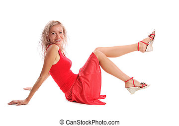 Beautiful young woman in the red