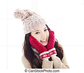 Beautiful young woman in winter clothing