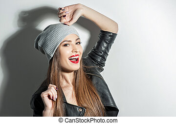 Beautiful young woman is expressing positive emotions