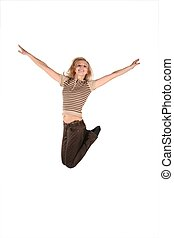 beautiful young woman jump isolated on white