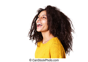 Beautiful young woman laughing on white background