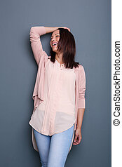 Beautiful young woman laughing
