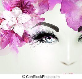 Beautiful young woman looks straight. Light blooming orchid decorated abstract hair.