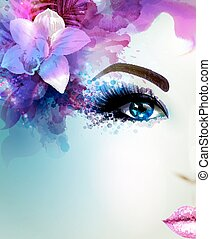 Beautiful young woman looks straight. Light blooming orchid ...