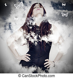 beautiful young woman on a background of clouds