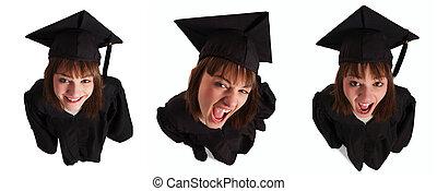 Beautiful young woman on high angle wearing graduation ...