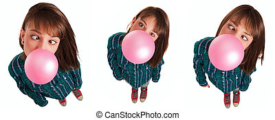 Beautiful young woman on high angle wearing shirt gesturing, smiling and doing silly face while chewing gum