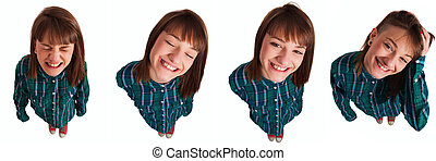 Beautiful young woman on high angle wearing shirt gesturing, smiling and shouting