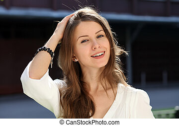 Beautiful young woman. Outdoor portrait