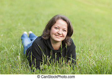 Beautiful Young Woman Outdoors. Enjoy Nature.