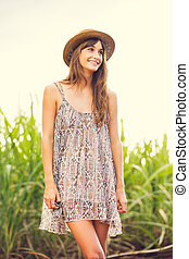 Beautiful Young Woman Outdoors in Sun Dress - Beautiful...