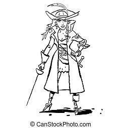Beautiful young woman pirates, cartoon style vector...