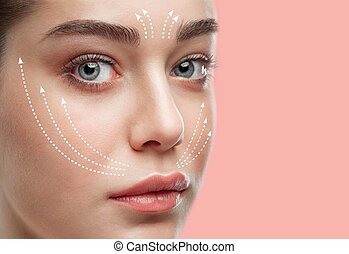 Beautiful young woman. Plastic surgery concept