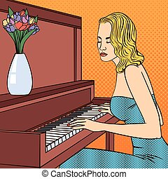 Beautiful Young Woman Playing on Piano. Pop Art. Vector illustration