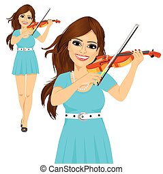 Beautiful young woman playing violin walking forward over...