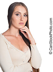 Beautiful young woman portrait on white background