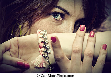 Beautiful young woman portrait with jewelery
