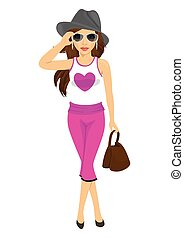 beautiful young woman posing in sunglasses, hat, handbag and sleeveless T-shirt with heart