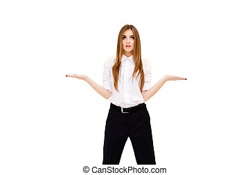 Beautiful young woman presenting something imaginary with her hands on white background