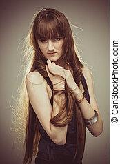 Beautiful Young Woman Retro Portrait
