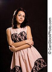 Beautiful young woman romanticising