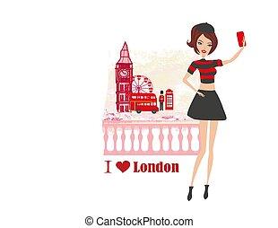 Beautiful young woman selfie in London