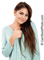 beautiful young woman showing OK sign, isolated on white backgro