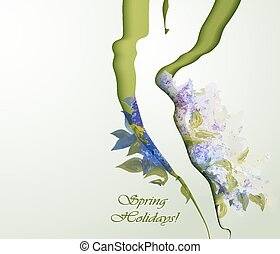 Beautiful young woman silhouette with flowers