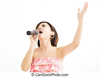 beautiful young woman singing karaoke isolated on white