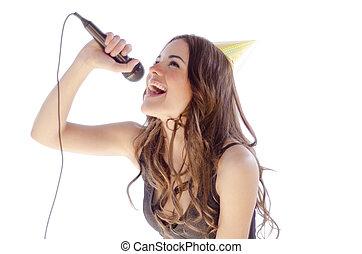 Beautiful young woman singing