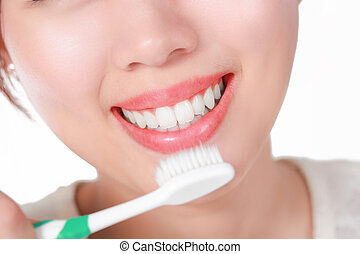 Beautiful young woman smile. Dental health concept.