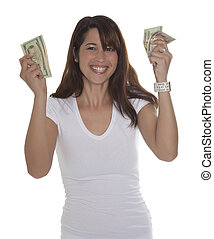 Beautiful young woman smiling with currency in her hands